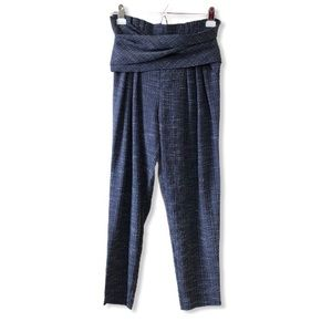 Parallel Lines Paperbag Waist Navy Trousers—XS